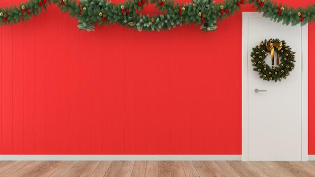 Kerst cadeau houten muur vloer boom sjabloon achtergrond decoratie sjabloon binnendeur