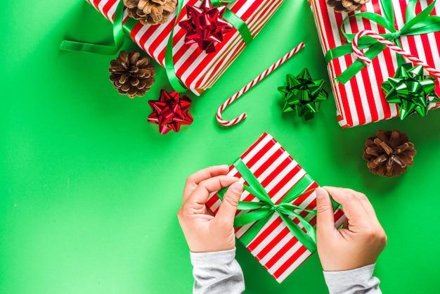 Kerst cadeau vakken achtergrond