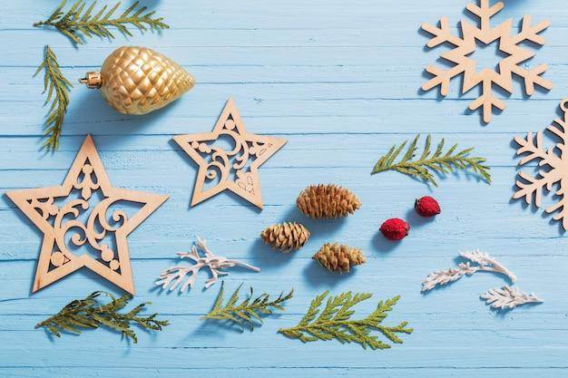 Kerst collectie op houten achtergrond