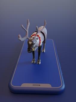 Kerst concept 3d-rendieren rendering op smartphone in blauwe tinten