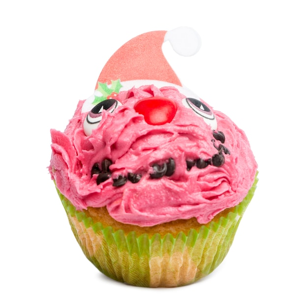Kerst cupcake op witte achtergrond voor witte achtergrond