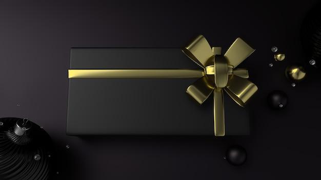 Kerst elegante zwarte geschenkdoos met een gouden lint, zwarte platte achtergrond. 3d-weergave