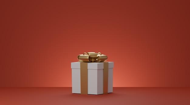 Kerst en nieuwjaar huidige doos, witte geschenkdoos met gouden lint op rode achtergrond. 3d-weergave.
