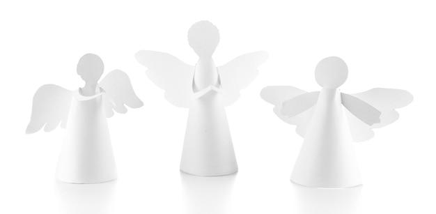 Kerst engelen geïsoleerd op wit
