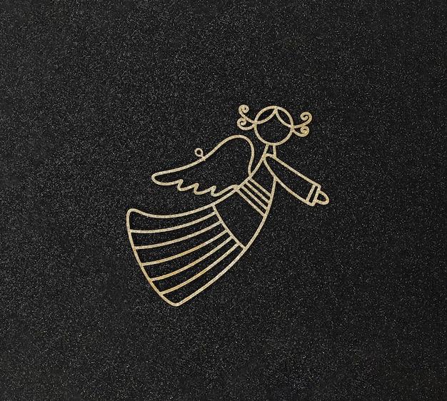 Kerst fla tlay met speelgoed gouden engel op zwart