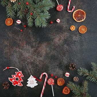 Kerst frame met decoratieve elementen