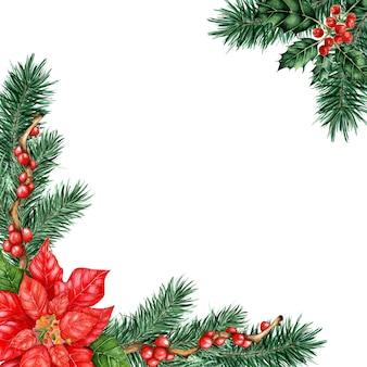 Kerst frame met dennentakken hulst twijgen ilex en poinsettia aquarel illustratie