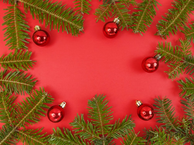 Kerst frame met fir tree takken