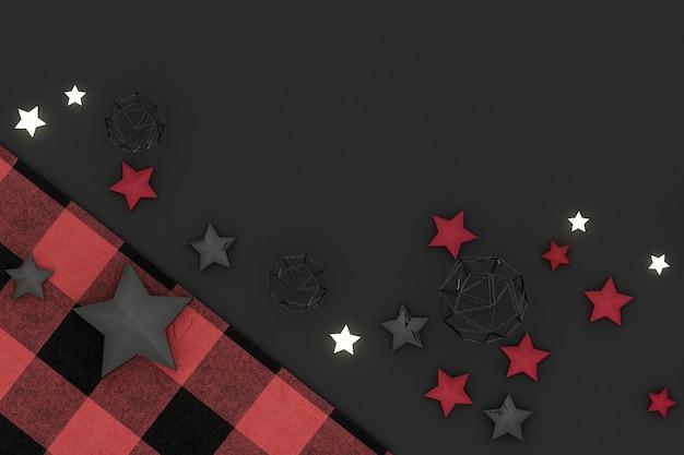 Kerst frame. rode, rode en zwarte kerstdecoratie op zwarte achtergrond