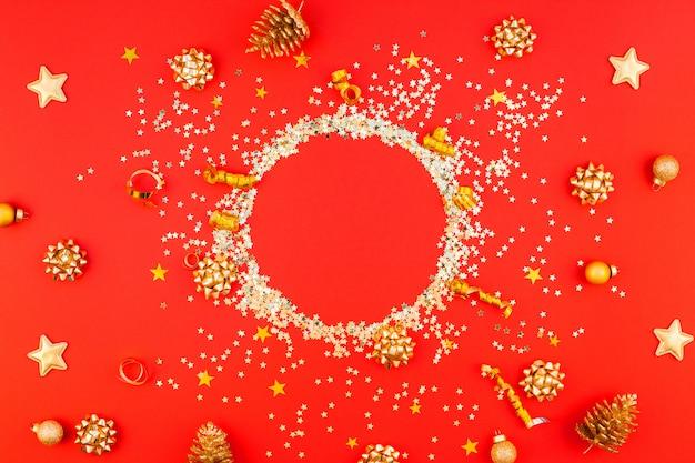 Kerst gouden ronde glitter frame achtergrond