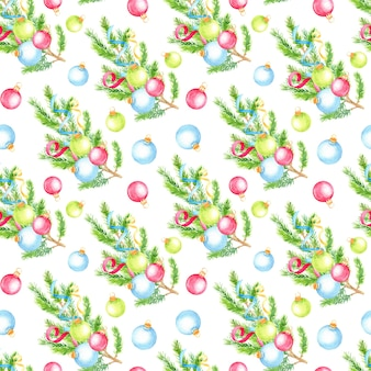 Kerst handgeschilderde naadloze patroon met fir tree takken en kerstballen.