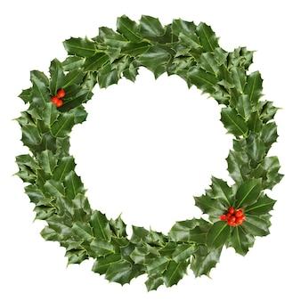 Kerst hulst bladeren en bessen op wit