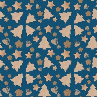 Kerst iconen naadloze patroon blauwe achtergrond