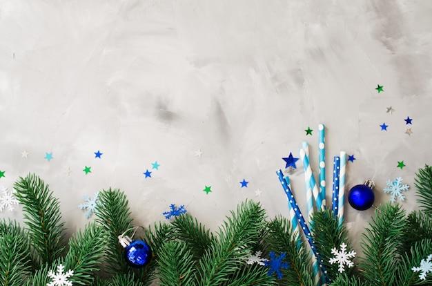 Kerst instelling met rietjes en takken