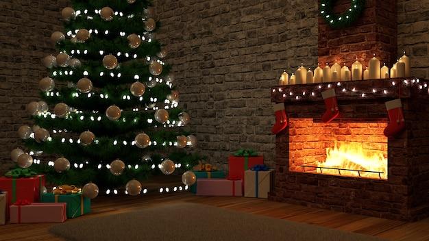 Kerst interieur met brandende open haard 's nachts