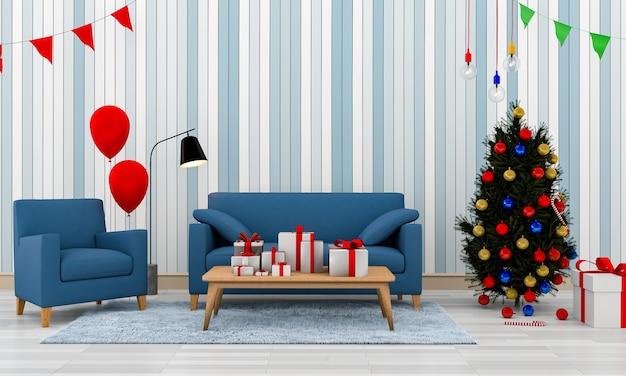 Kerst interieur moderne woonkamer met een kerstboom. 3d-rendering