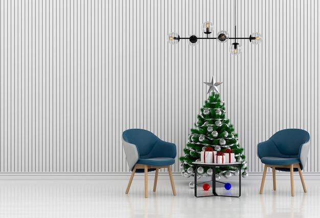 Kerst interieur woonkamer. 3d render