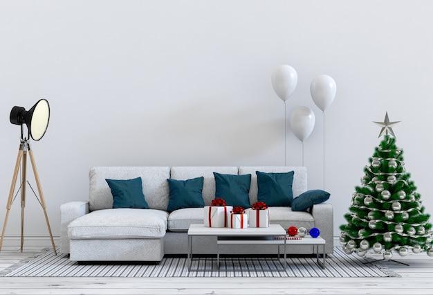 Kerst interieur woonkamer.