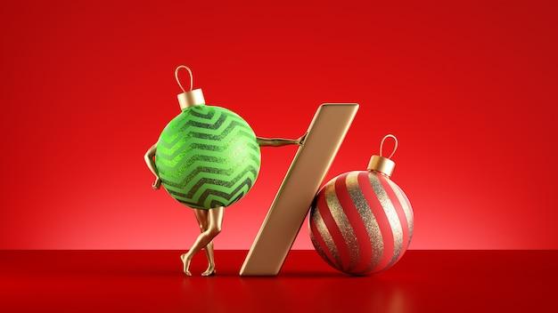 Kerst karakter glas groene bal ornament met gouden poten