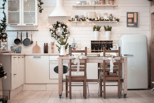 Kerst keuken interieur.