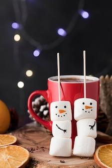 Kerst kopje warme chocolademelk