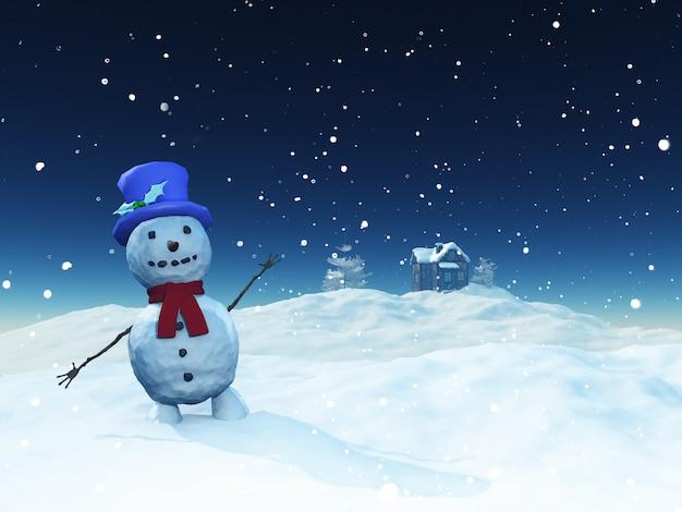 Kerst landschap met schattige sneeuwpop