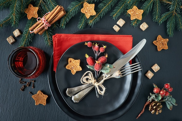 Kerst menu concept op donker
