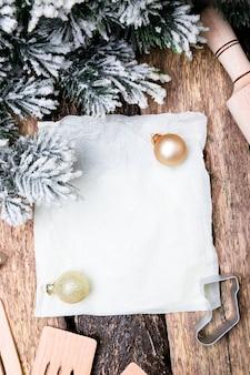 Kerst menu plan. voor het schrijven van het kerstmenu. bovenaanzicht