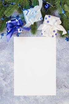 Kerst mock up voor wenskaart of brief aan de kerstman in blauwe kleur.