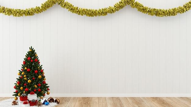 Kerst muur decor houten muur vloer interieur interieur achtergrond geschenk doos boom sjabloon