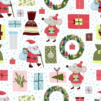 Kerst naadloos patroon met kerstman, krans, muis, sneeuw, geschenkdoos op witte achtergrond