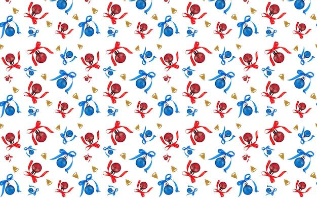 Kerst naadloos patroon ornament met linten rood en blauw en bel van goud