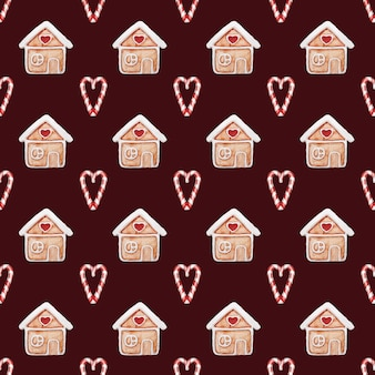 Kerst naadloze patroon aquarel peperkoek huizen hand getekende achtergrond