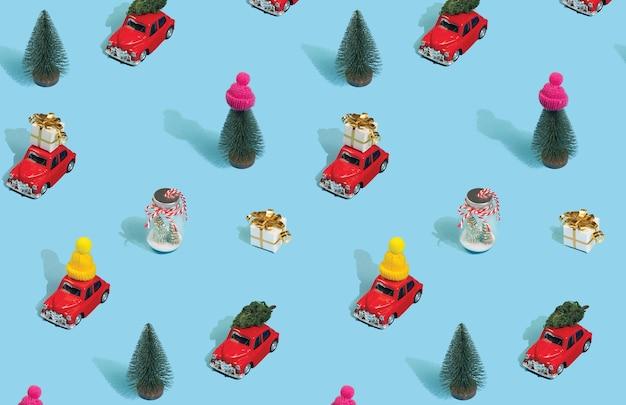 Kerst naadloze patroon gemaakt met verschillende kerst elementen op blauw