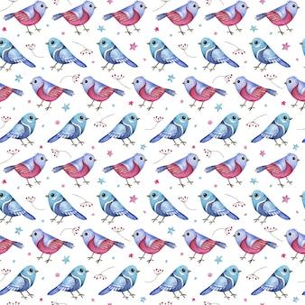 Kerst naadloze patroon met blauwe en roze vogels, bessen en sterren.