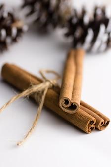 Kerst nieuwjaar decoratie. kaneelstokjes gebonden met twijn dennenappels