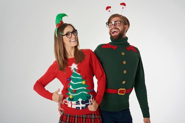 Kerst paar magische tijd vieren