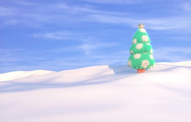 Kerst pluizige boom op winters tafereel. 3d render.
