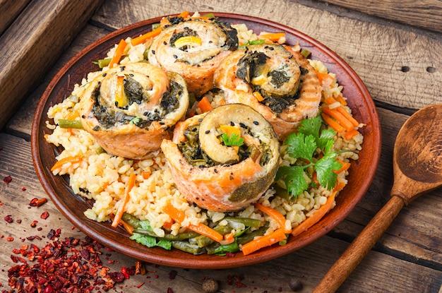 Kerst rijst met zeevruchten