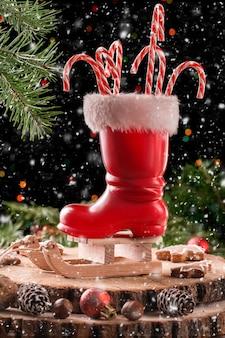 Kerst rode laars op een houten slee