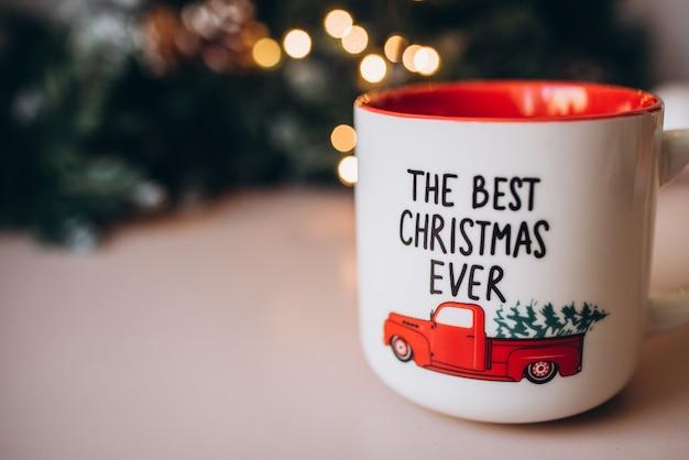 Kerst rode mok. nieuwjaar. kerstmis