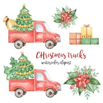 Kerst rode vrachtwagens clipart, cadeautjes, poinsettia illustratie, nieuwjaar set, rode auto clipart