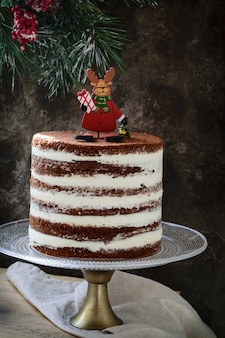 Kerst rustieke gelaagde cake