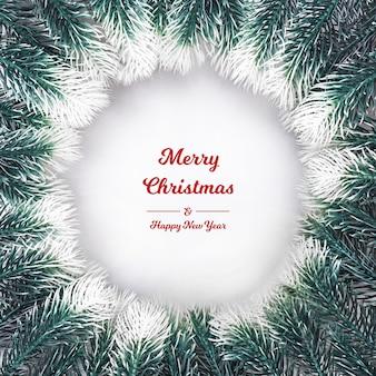 Kerst samenstelling. kerstkrans gemaakt van fir takken nieuw ja op witte achtergrond plat lag, bovenaanzicht, kopie ruimte, vierkant. negatieve ruimte