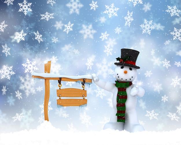 Kerst sneeuwpop achtergrond