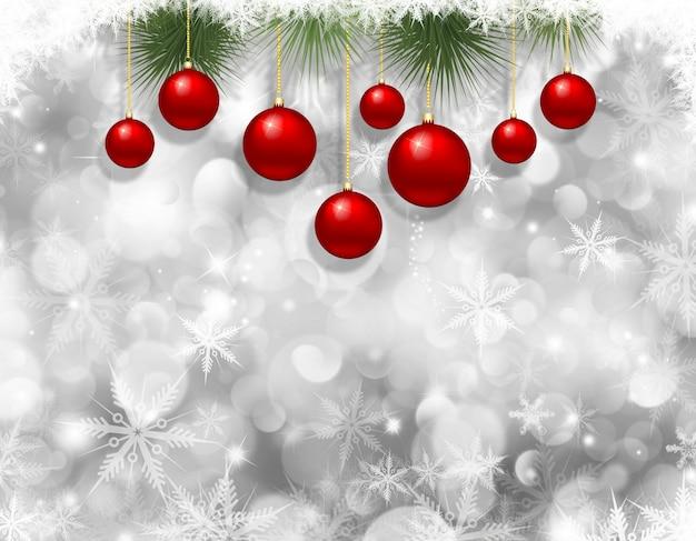 Kerst sneeuwvlokken en kerstballen