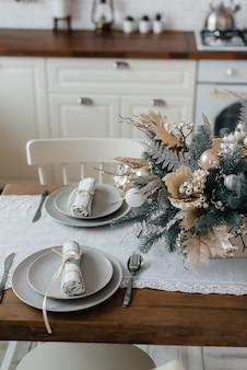 Kerst tabel instelling. decor vakantie.