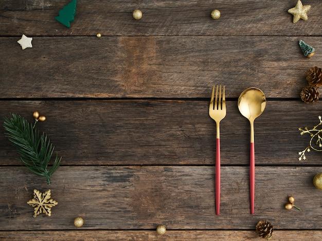 Kerst tabel instelling op houten