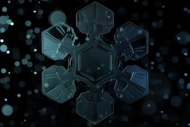 Kerst thema 3d illustratie van transparante gedetailleerde sneeuwvlok. winterelement op de zwarte achtergrond. 3d gegenereerd sneeuwvlokmodel met scherptediepte en glazen bollen rond.