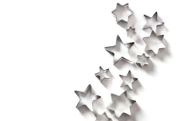 Kerst thema koekjessnijders sterren op wit